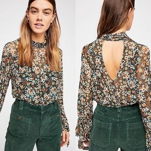 Free People Floral Mesh Blouse